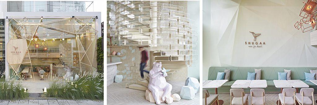 Formas geométricas en Shugaa room - Reformas integrales Valencia