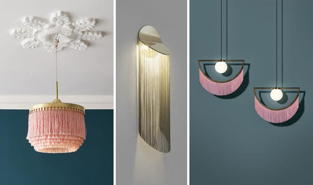 Lámparas con flecos - Diseño interiores Valencia