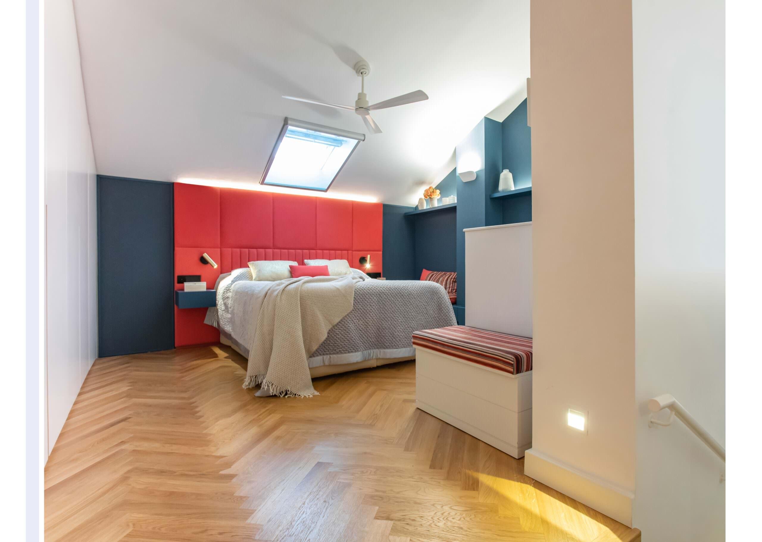 Dormitorio principal - el tono coral es el protegonista